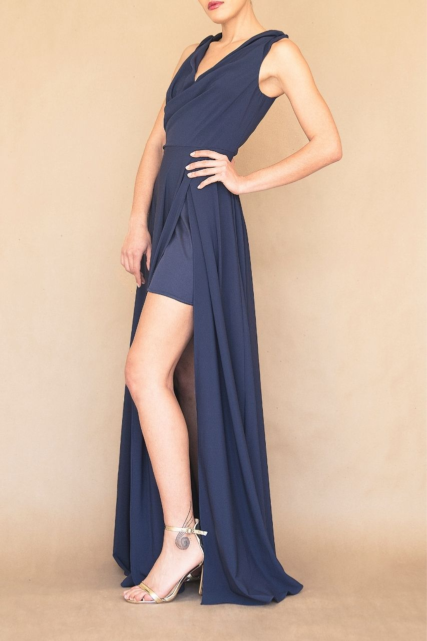 Vestido para damas de honor azul marino