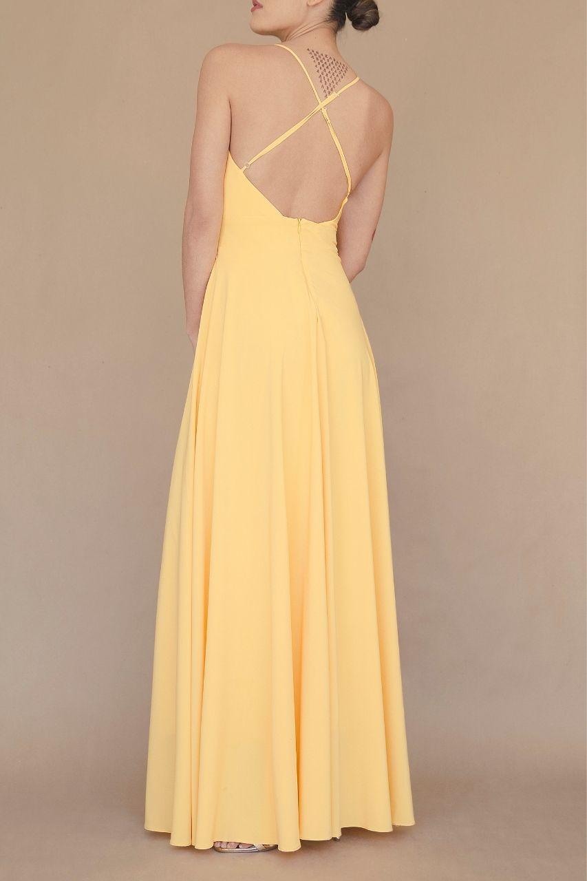 Vestido para damas de honor amarillo