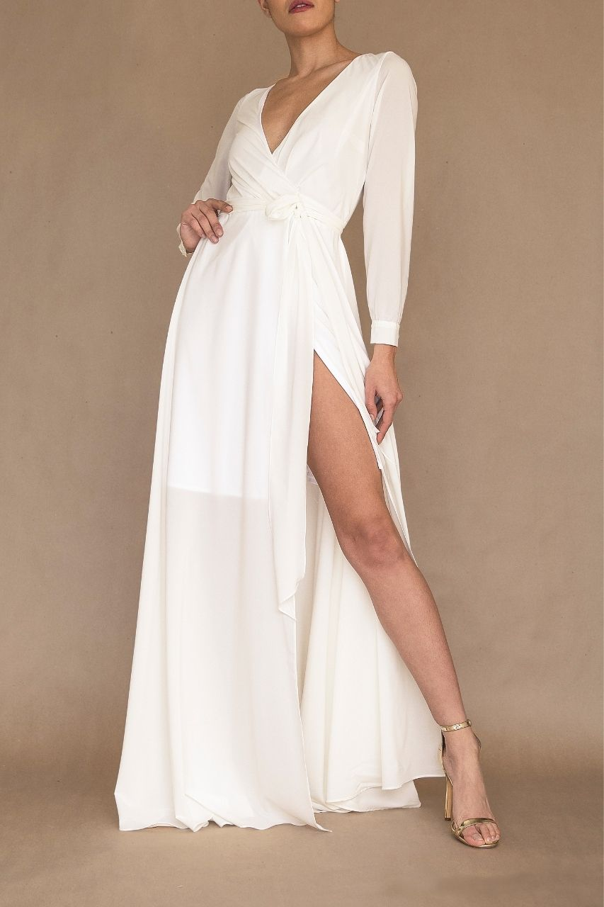 Vestido para damas de honor manga larga blanco