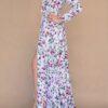 Vestido para damas de honor manga larga floreado
