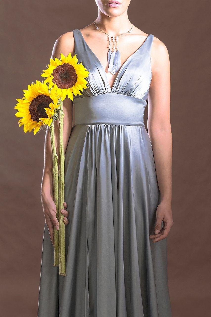 Vestido para damas de honor plateado