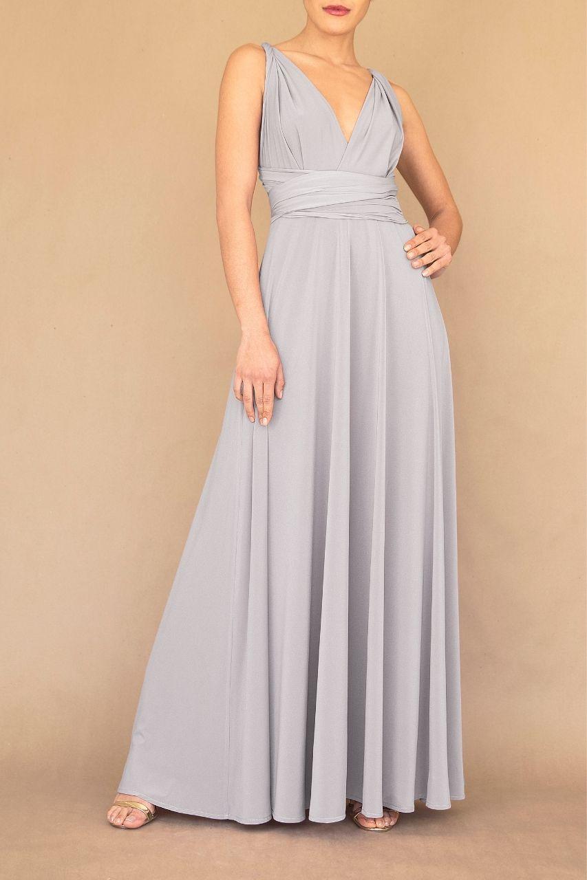 vestido convertible para damas de honor gris plata