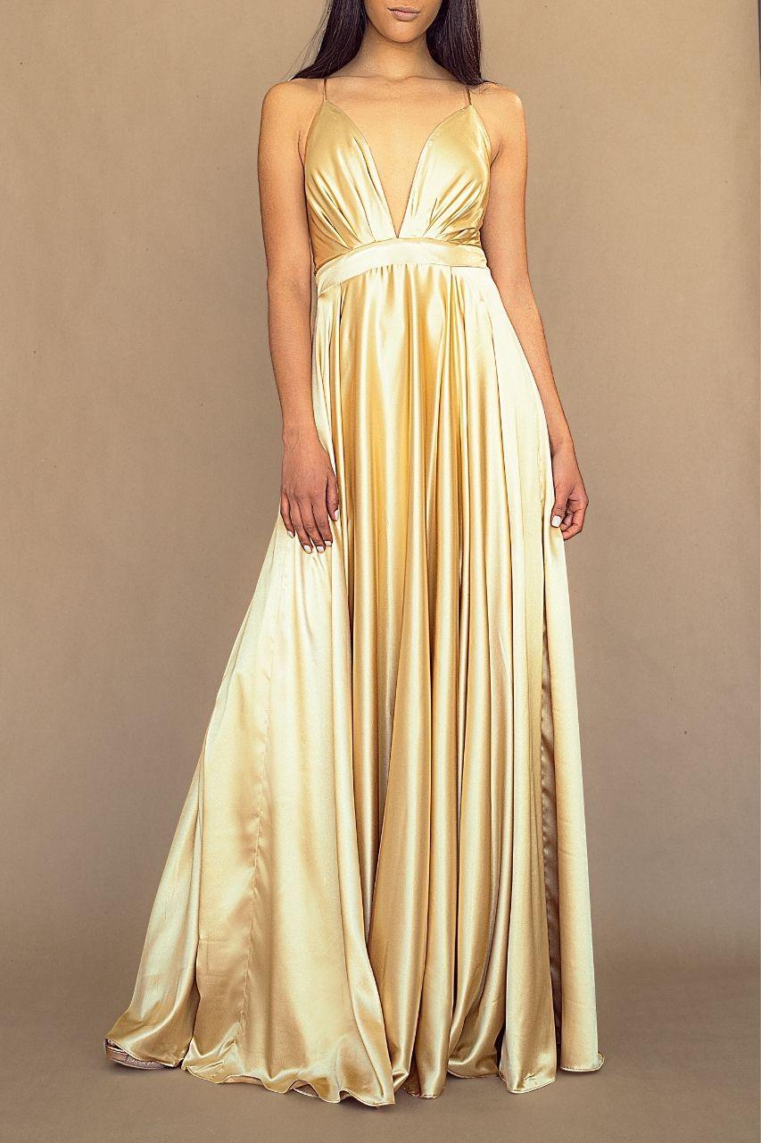vestido para damas de honor dorado