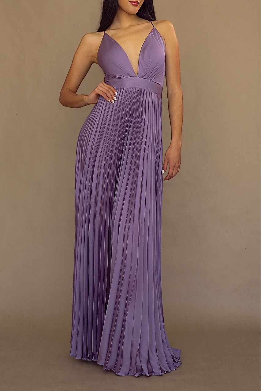 vestido para damas de honor lavanda falda plisada