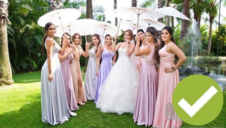 damas de honor telas sedosas multi colores