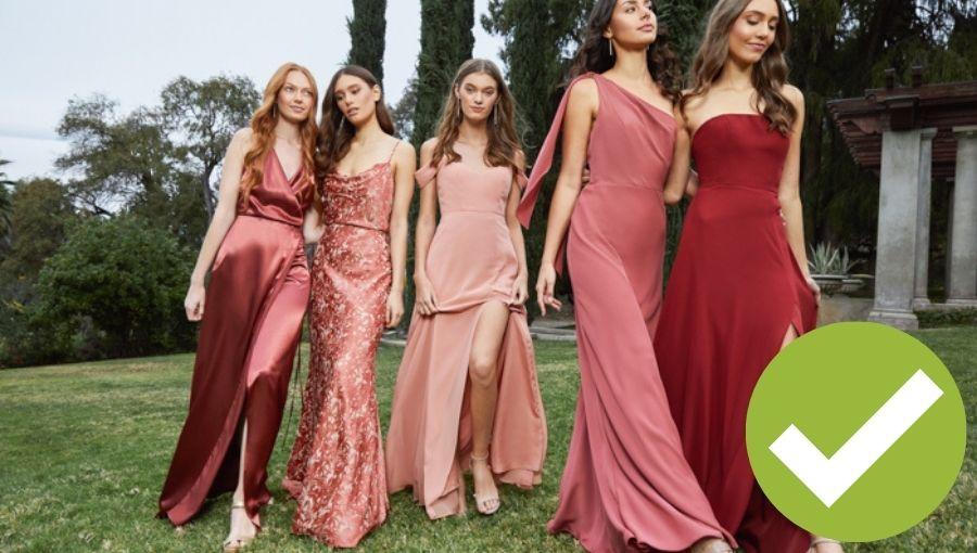 vestidos damas de honor combinación de telas